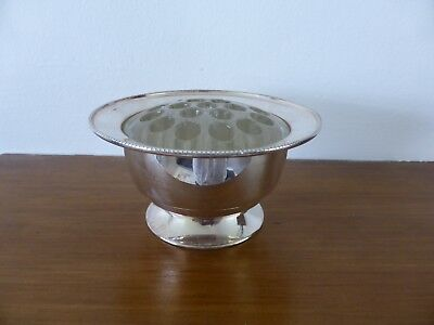Vintage Silver Plated Rose Bowl with Moulded Glass Frog