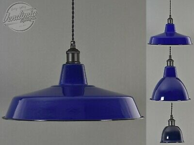 True Blue Classic Vintage Industrial Factory Enamel Light Shade Steel Pendant