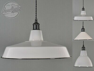 Beige Grey Classic Vintage Industrial Factory Enamel Shades Lampshade Pendant