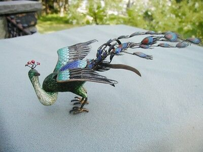 Exquisite  Antique Chinese Cloisonne Enamel & Silver Peacock  Marked 925