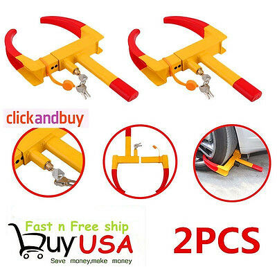 2X Wheel Lock Clamp Boot Tire Claw Trailer Auto Car Truck Anti-Theft Towing EJG