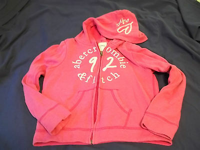 Abercrombie Kids -Size 11/12 -Hoodie-  Full Zipper -Silver Embroidery- Pink Euc