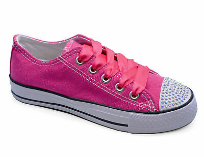 Childrens Girls Pink Ribbon Lace-Up Diamante Canvas Pumps Casual Kids Shoes 11-3