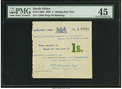 South Africa Mafeking Siege 1 Shilling 1900 P-S651a PMG 45 Choice XF