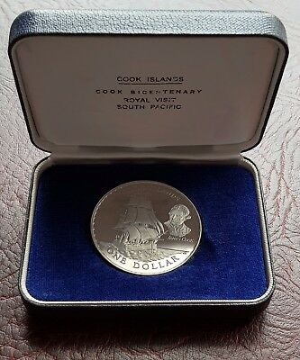 Superb *rare* Cook Islands 1970 Cased Bicentenary Proof $1 Dollar Coin