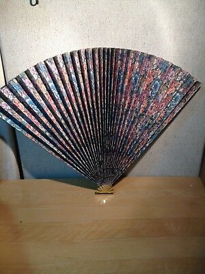 Vintage Awesome Japanese Fan with Gold and Floral