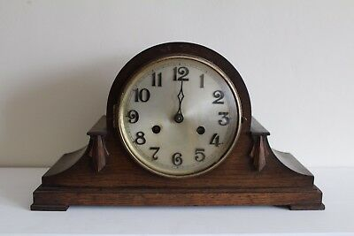 Antique Vintage Art Deco Style Wooden Mantel Clock With Chime For Repair