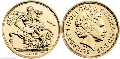 PROOF-LIKE 2015 24k GOLD PLATED Queen Elizabeth II Full Sovereign NOVELTY COIN