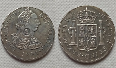 1791 George IV Countermarked Coinage Crown 8 Reales NOVELTY COIN Silver Plated