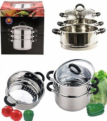 3 Tier 28cm Stainless Steel Multi Steamer Veg Cooker Pot Pan With Glass Lid Set