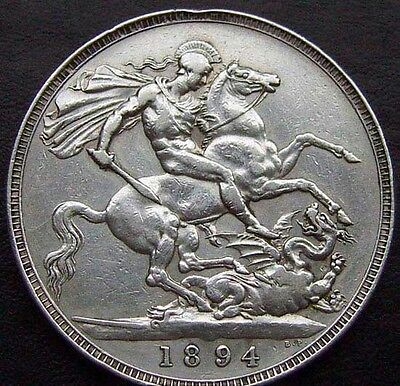 1894 Queen Victoria One 1 Crown - 3rd portrait NOVELTY COIN Silver Plated