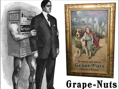 Grape Nuts Self Framed Tin Sign 1906 Classic