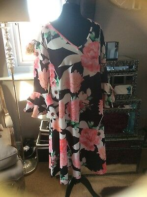 New with tags size 18 floral dress with frill sleeves from Lovedrobe