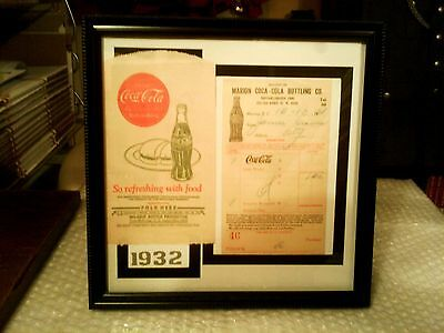 Coca - Cola Rare Original 1930's Framed Memorabilia Display  #2 - Excellent!