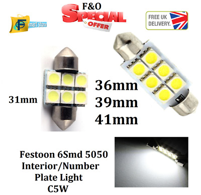 UPTO10x 6SMD 31 36 39 41 C5W White LED Car Interior Dome Light Lamp Bulb Festoon