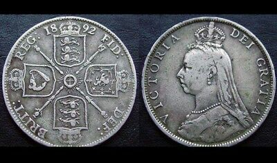 1892 Queen Victoria 1 Florin (2 Shillings) NOVELTY COIN Silver Plated