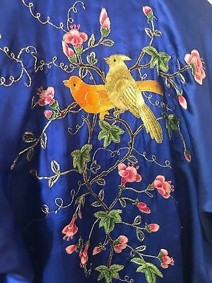 Cobalt Blue Medium Vintage Silver Osmanthus Hand Embroidered 100% Silk Robe