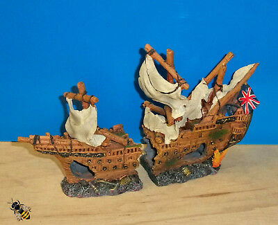 Aquarium Ornament Galleon Shipwreck Fish Tank Decoration New