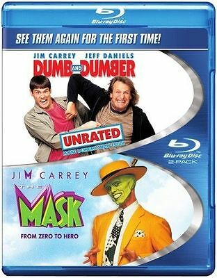 Blu Ray THE MASK and DUMB & DUMBER unrated. Jim Carrey. Region free. New sealed