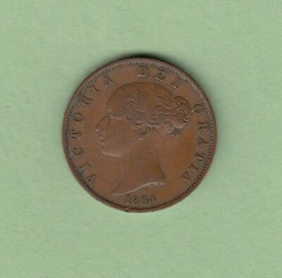1854 Great Britain 1/2 Penny Coin - Queen Victoria - F/VF