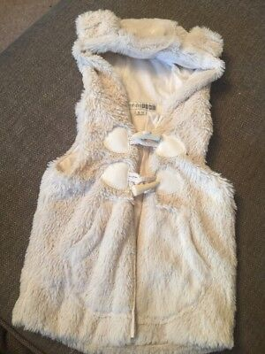 Nursery Time Baby Girl Ivory Fur Gilet. 6-12 Months