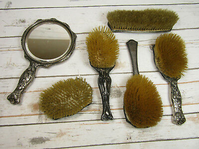 Lot of 6 Antique Silver Plate Items - 5 Brushes and 1 Vanity Mirror