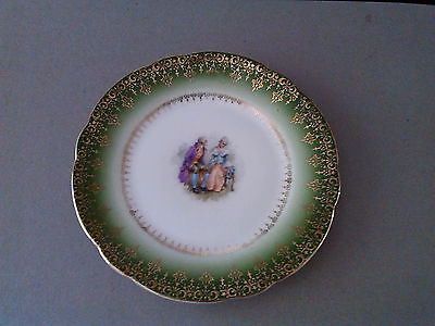 """Antique  C.t. Carl Tielsch 6 1/4"""" Collector Plate With Gold Trim - Germany"""