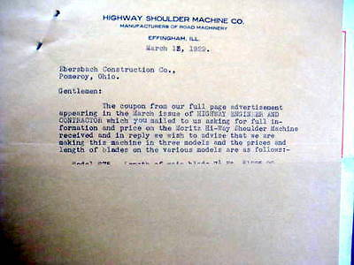 Highway Shoulder Machine Company Circular Effingham IL 1929 Vintage