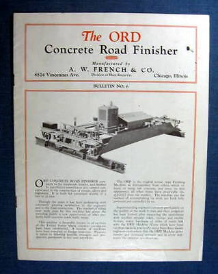 Ord Concrete Road Finisher Brochure A W French Company Chicago IL 1920