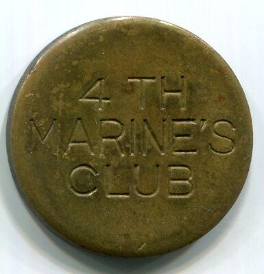 China, Shanghai - (1940's)  4th Marines Club 10c Token