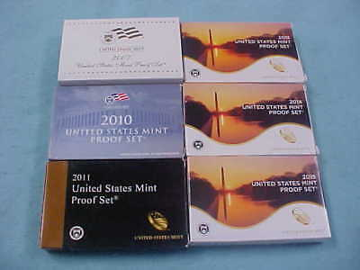 2007 2010 2011 2013 2014 & 2015 Six  United States Mint Proof Sets With Ogp/coas