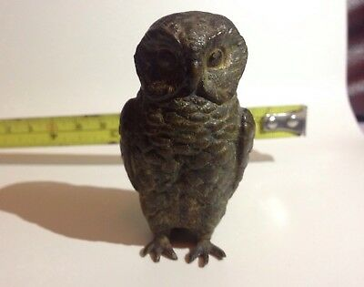 Austrian Cold Painted Bronze  Franz Bergman? Owl Design Antique Collectible