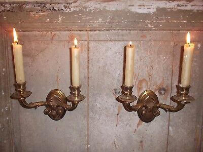French a pair of gold  bronze wall candle holders beautiful antique