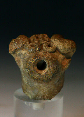 *sc*interesting Pre-Columbian Pottery Head Of Ram Or Goat, 1St. Mill. Bc