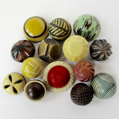 Assortment of 14 Celluloid Bubble Buttons w Celluloid Backs, Includes 1 Glow Top