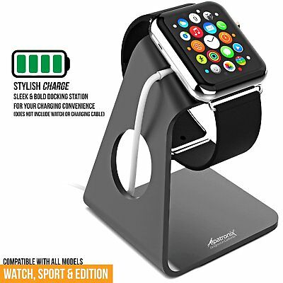 Apple Watch series Charging Dock Stand Bracket Holder Aluminum - Black (2 pack)