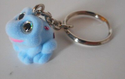 Adorable! key chain backpack purse lunchbox charm flocked blue frog glitter