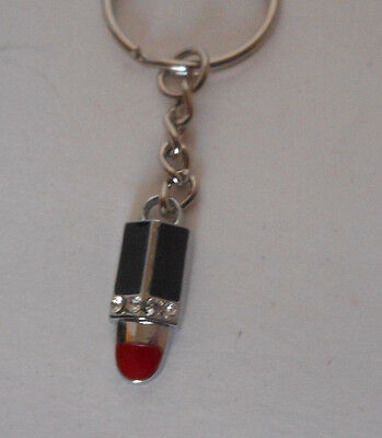 purse or backpack charm, key chain red lipstick rhinestone accents