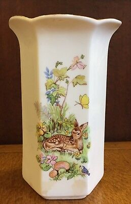 Vintage Ceramic Vase with Deer/Bambi and Bluebird Print