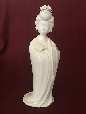 """Gumps white porcelain Geisha figurine 14"""" tall. Very detailed, great condition."""