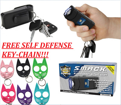 SELF DEFENSE KEY CHAIN 6,000,000  Volt Stun Gun FLASHLIGHT Black (FREE KEYCHAIN)