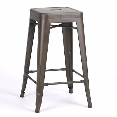 Industrial Zinc Iron Vintage Effect Tolix Inspired Style Metal Bar Stool Cafe