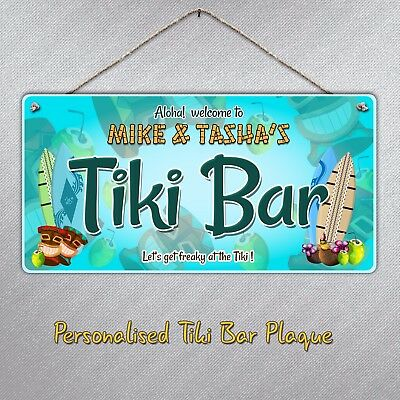 Personalised Tiki Bar Hanging Sign Plaque | Gift Beer Drink Cocktails Beach