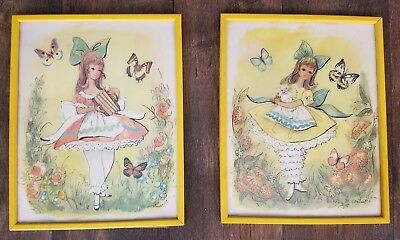 Two M.Hartnett Signed Vintage 1971 STAPCO yellow framed Girls with Bows, Cat