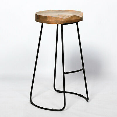 Retro Vintage Rustic Wooden Kitchen Pub Bar Metal Stool Industrial Tractor Style