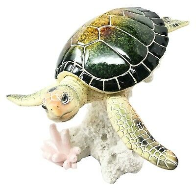 QBI Large Marine Ocean Giant Sea Turtle Swimming Over Coral Figurine Collectible