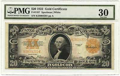 1922 $20 Large Size Gold Certificate PMG VF-30 Fr #1187