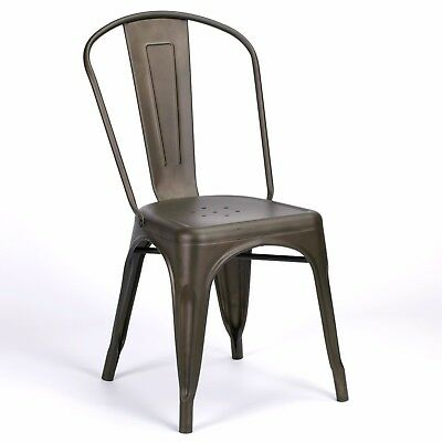 Outstanding Tolix Inspired Vintage Zinc Iron Style Metal Dining Chair Machost Co Dining Chair Design Ideas Machostcouk