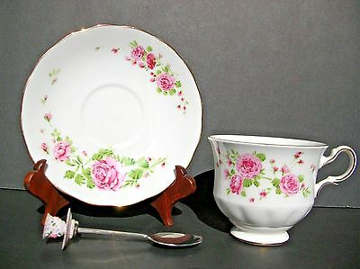 """""""Pink Roses"""" cup & saucer & spoon Bone China England made for Avon 1974"""