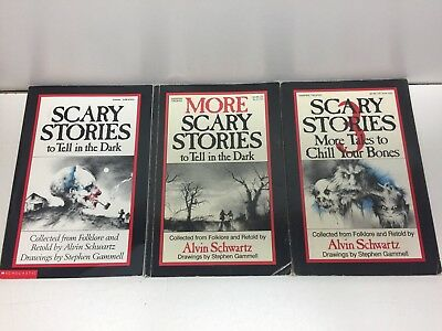 Lot of 3 Scary Stories to Tell in the Dark books Schwartz Gammell  ORIGINAL ART